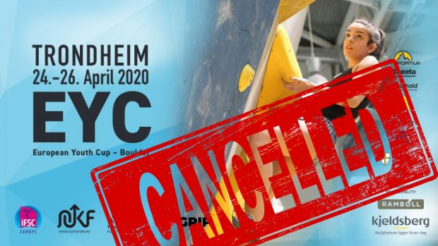 European Youth Cup Bouldering Trondheim 24-26th April 2020 is CANCELLED due to the Corona situation